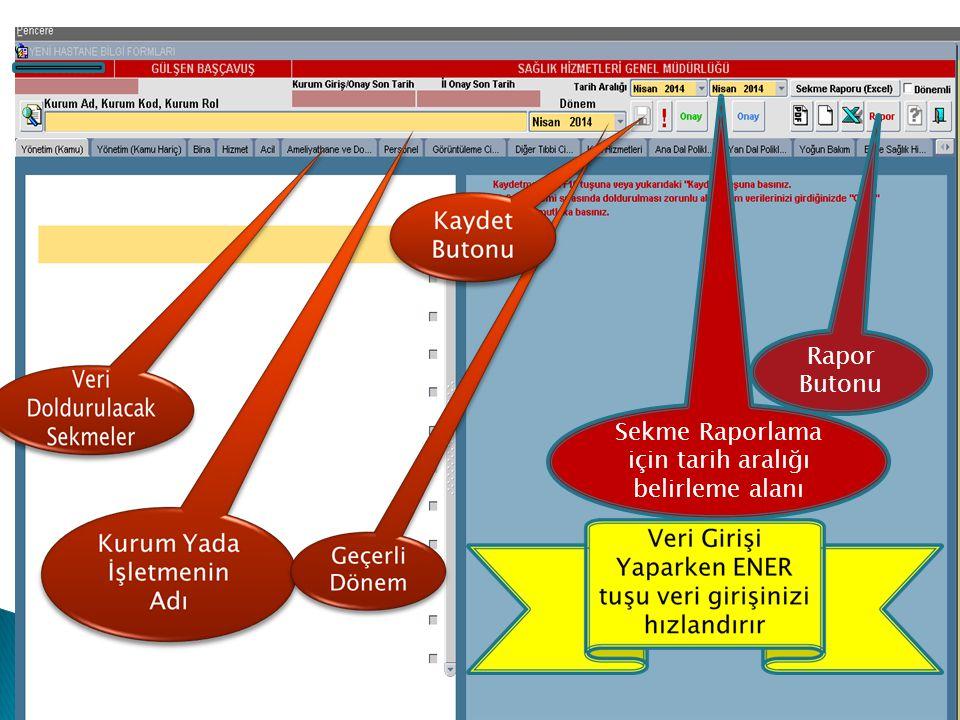 Sekme Raporlama için tarih aralığı belirleme alanı