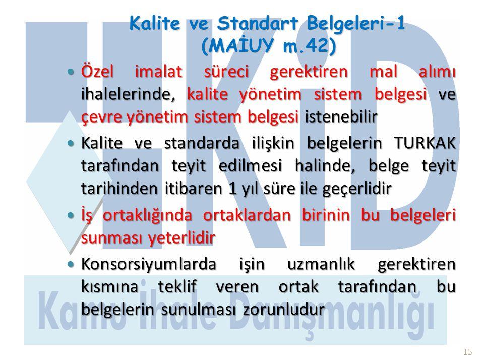 Kalite ve Standart Belgeleri-1 (MAİUY m.42)