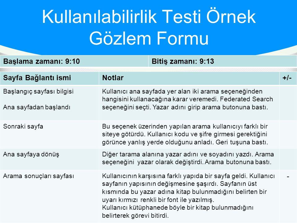 Kullanılabilirlik Testi Örnek Gözlem Formu