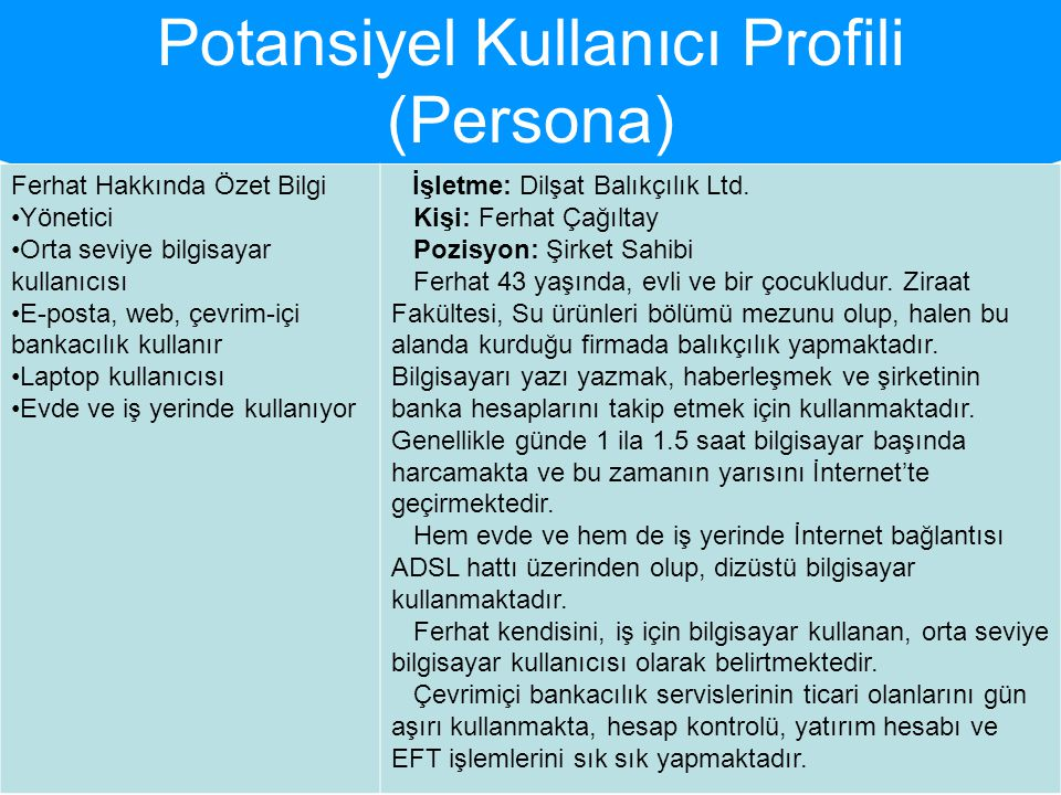 Potansiyel Kullanıcı Profili (Persona)