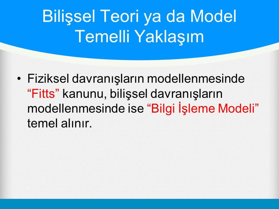 Bilişsel Teori ya da Model Temelli Yaklaşım