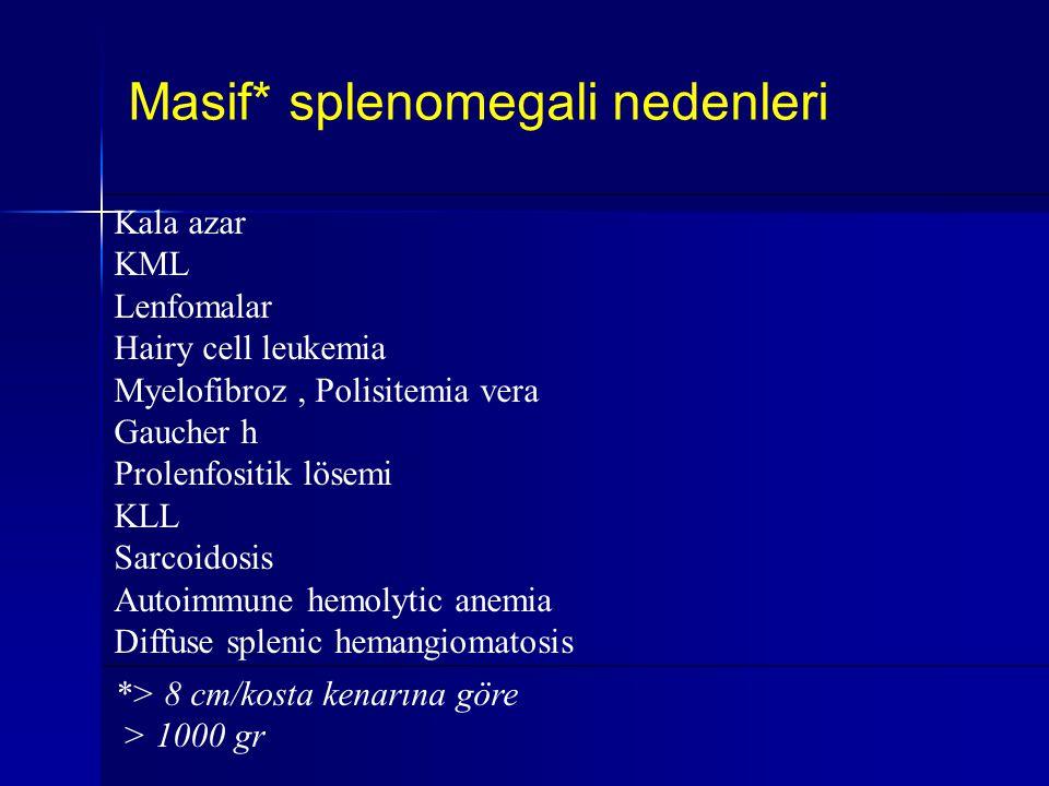Masif* splenomegali nedenleri
