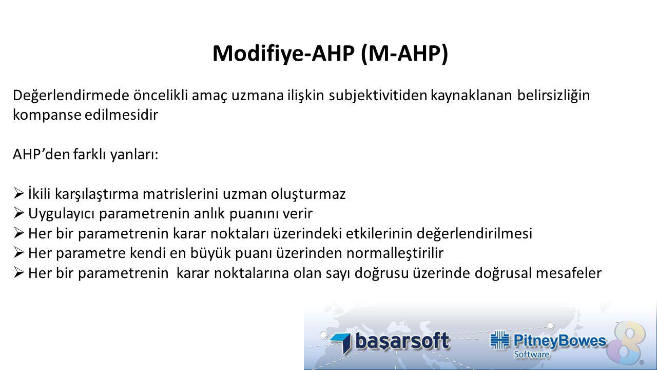 Modifiye-AHP (M-AHP) Değerlendirmede öncelikli amaç uzmana ilişkin subjektivitiden kaynaklanan belirsizliğin kompanse edilmesidir.