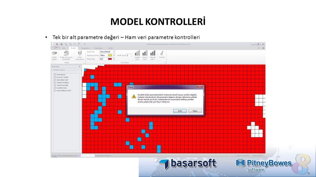 MODEL KONTROLLERİ Tek bir alt parametre değeri – Ham veri parametre kontrolleri