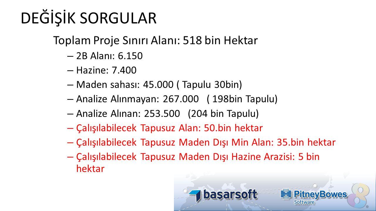 DEĞİŞİK SORGULAR Toplam Proje Sınırı Alanı: 518 bin Hektar