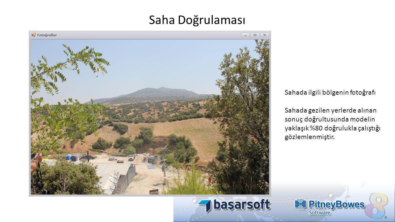 Saha Doğrulaması Sahada ilgili bölgenin fotoğrafı