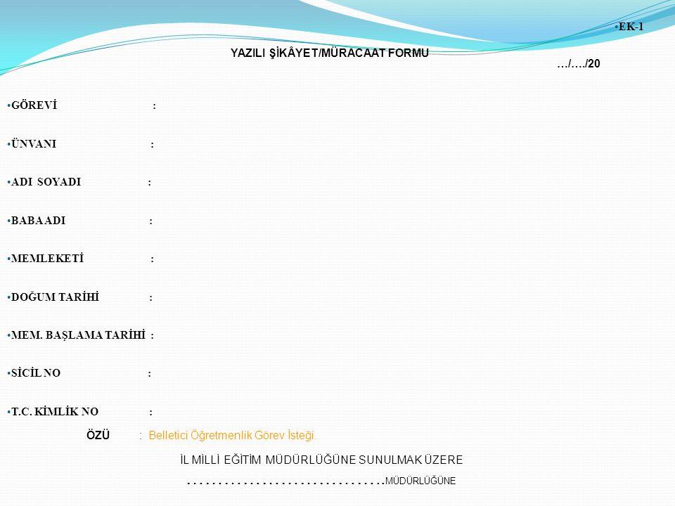 YAZILI ŞİKÂYET/MÜRACAAT FORMU …/…./20