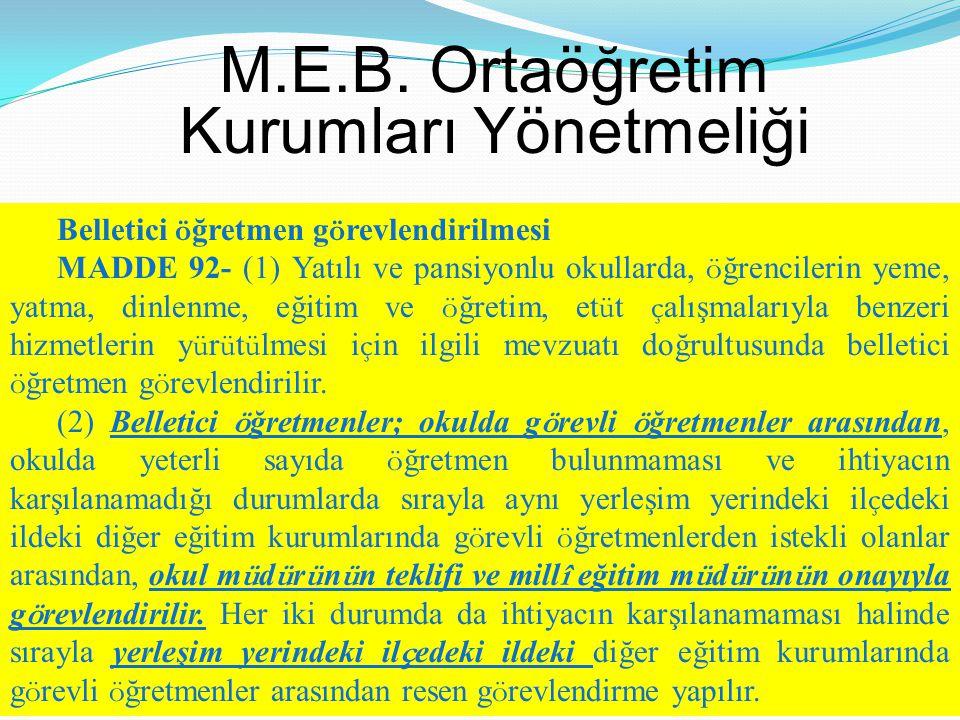 M.E.B. Ortaöğretim Kurumları Yönetmeliği