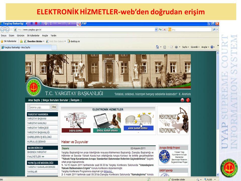 ELEKTRONİK HİZMETLER-web'den doğrudan erişim