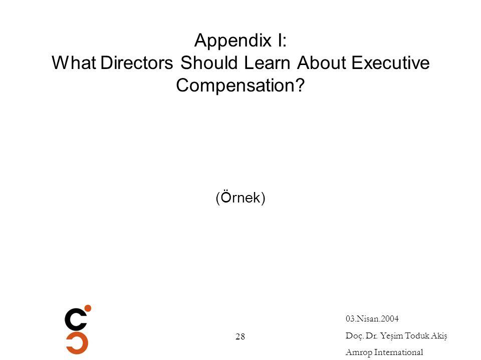 Appendix I: What Directors Should Learn About Executive Compensation