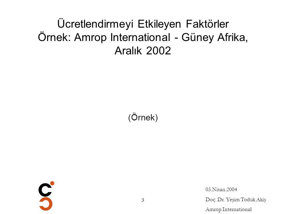 Ücretlendirmeyi Etkileyen Faktörler Örnek: Amrop International - Güney Afrika, Aralık 2002