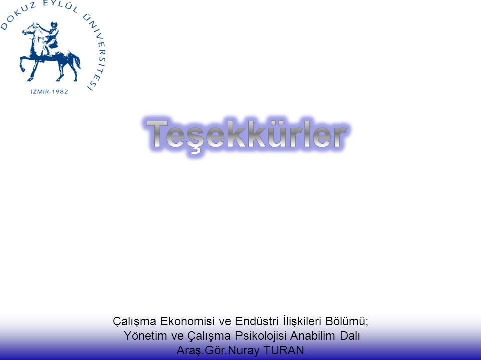Teşekkürler Çalışma Ekonomisi ve Endüstri İlişkileri Bölümü;