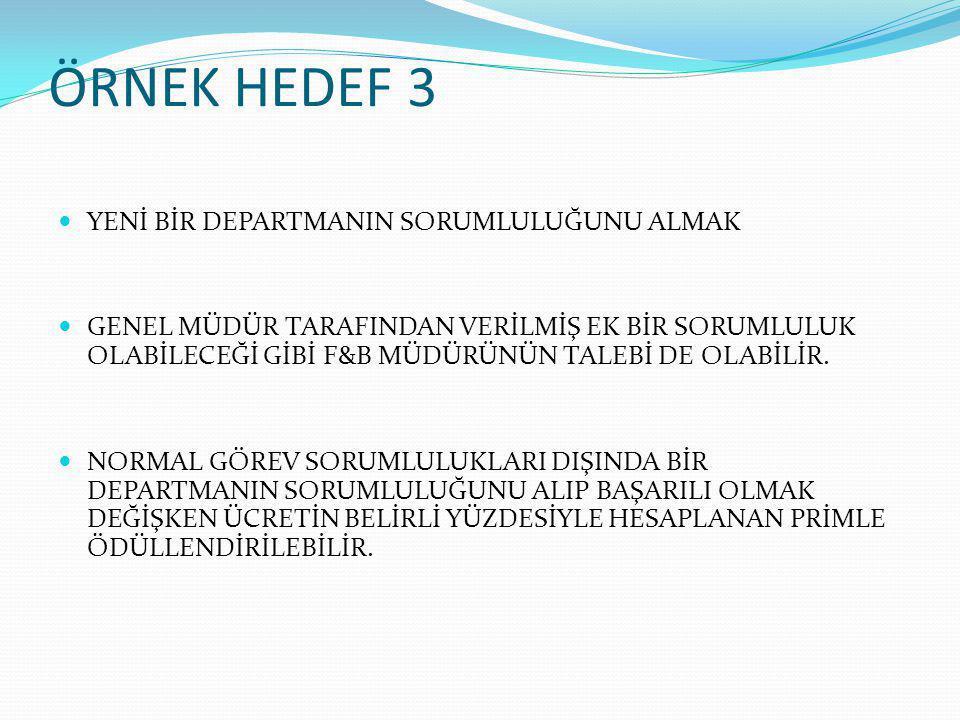 ÖRNEK HEDEF 3 YENİ BİR DEPARTMANIN SORUMLULUĞUNU ALMAK
