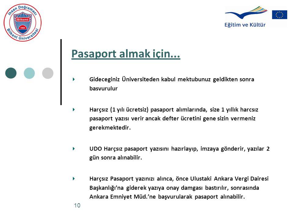 Pasaport almak için... Gideceginiz Üniversiteden kabul mektubunuz geldikten sonra basvurulur.