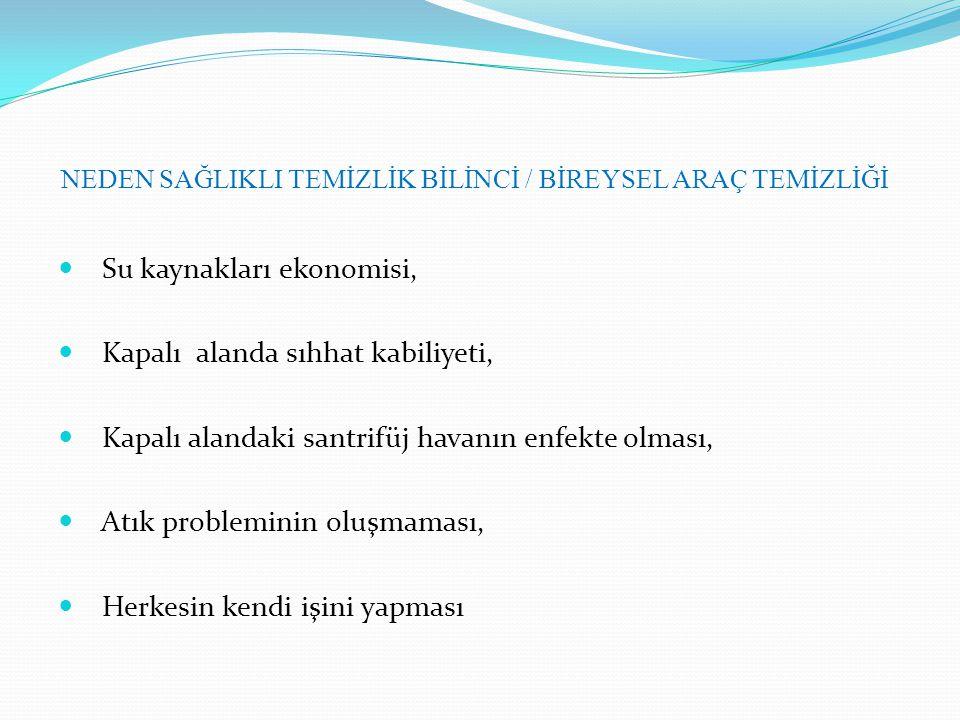 NEDEN SAĞLIKLI TEMİZLİK BİLİNCİ / BİREYSEL ARAÇ TEMİZLİĞİ
