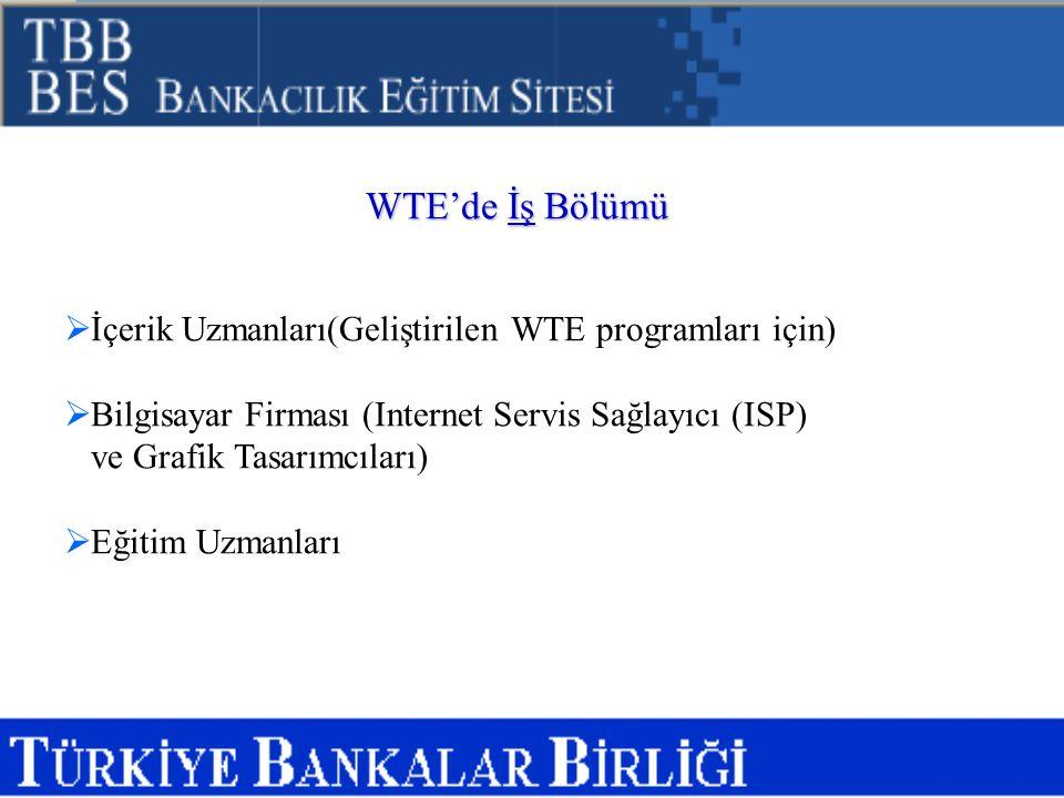 WTE'de İş Bölümü İçerik Uzmanları(Geliştirilen WTE programları için)