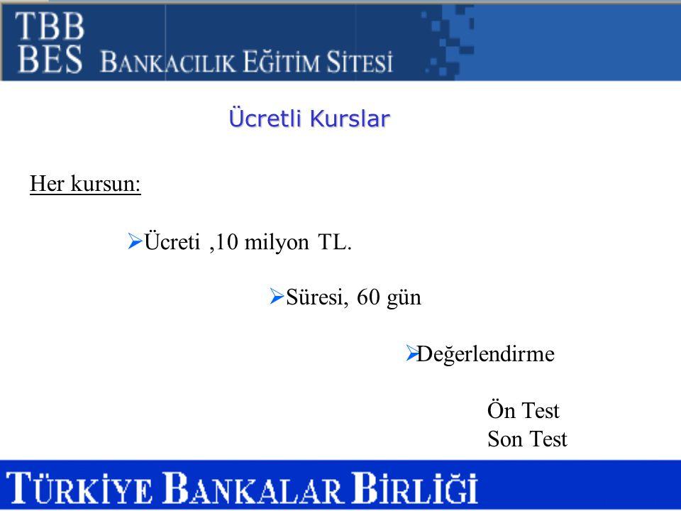 Her kursun: Ücreti ,10 milyon TL. Süresi, 60 gün Değerlendirme Ön Test