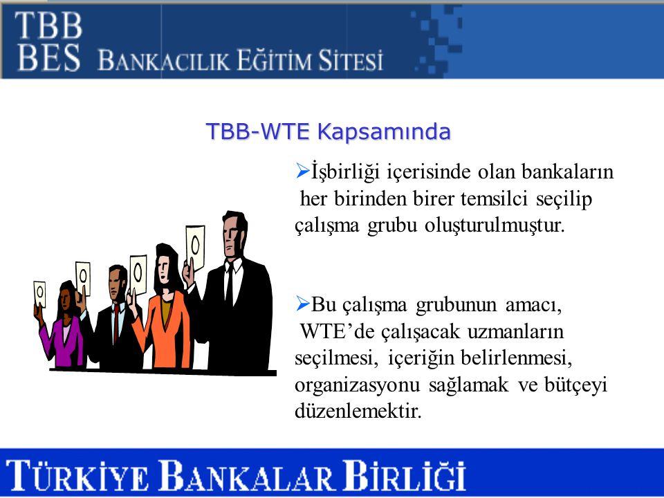 TBB-WTE Kapsamında İşbirliği içerisinde olan bankaların. her birinden birer temsilci seçilip çalışma grubu oluşturulmuştur.