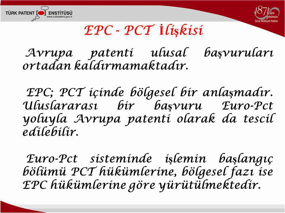 EPC - PCT İlişkisi Avrupa patenti ulusal başvuruları ortadan kaldırmamaktadır.