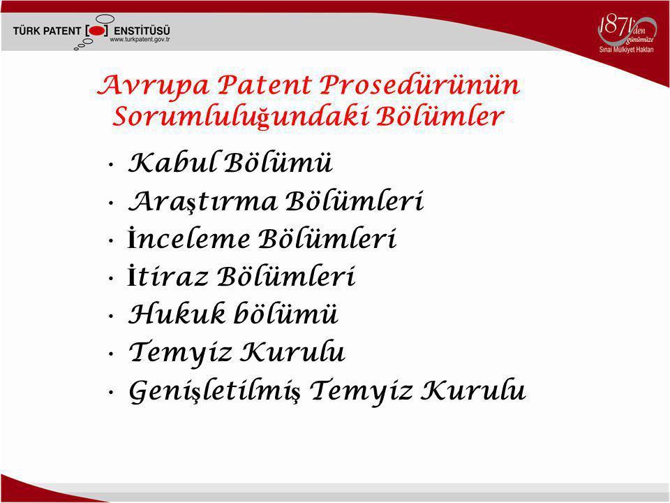 Avrupa Patent Prosedürünün Sorumluluğundaki Bölümler