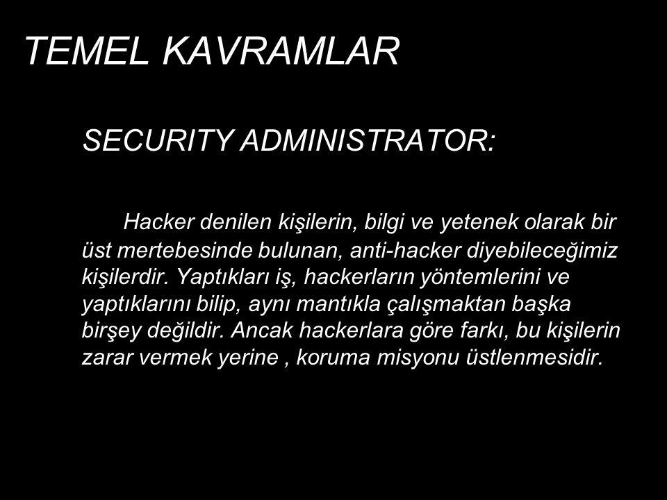 TEMEL KAVRAMLAR SECURITY ADMINISTRATOR: