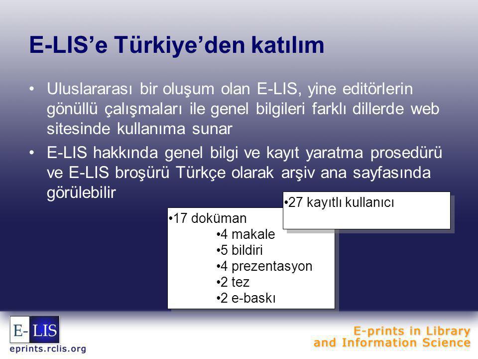 E-LIS'e Türkiye'den katılım