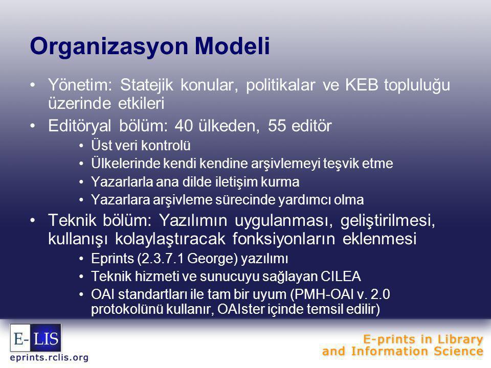 Organizasyon Modeli Yönetim: Statejik konular, politikalar ve KEB topluluğu üzerinde etkileri. Editöryal bölüm: 40 ülkeden, 55 editör.