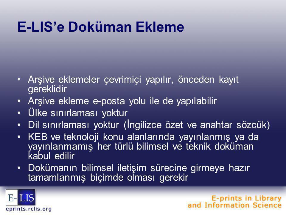 E-LIS'e Doküman Ekleme