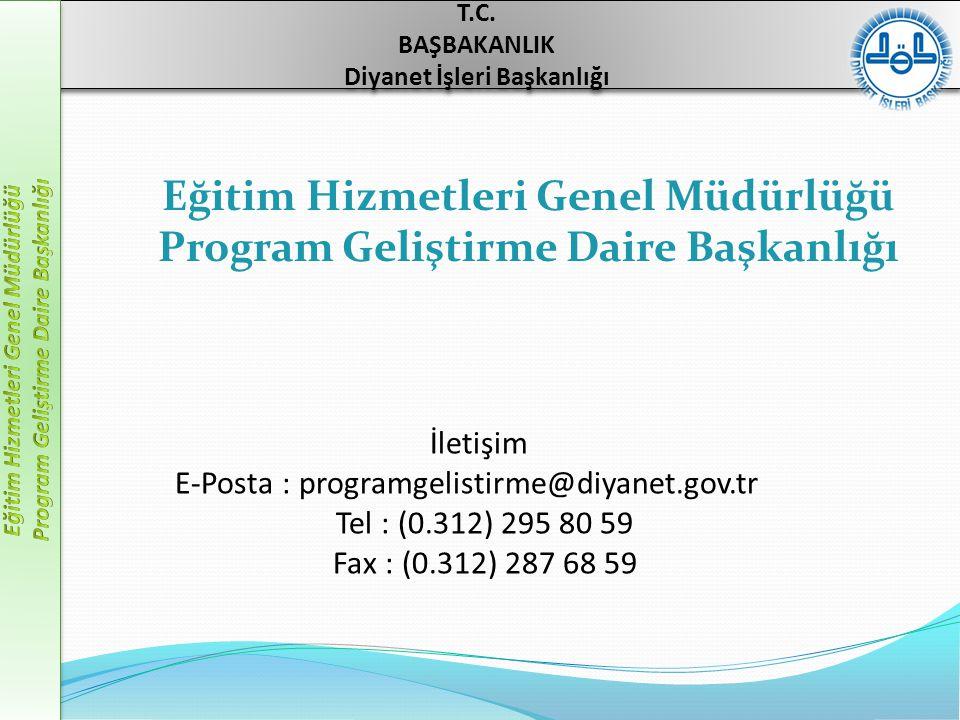 Eğitim Hizmetleri Genel Müdürlüğü Program Geliştirme Daire Başkanlığı
