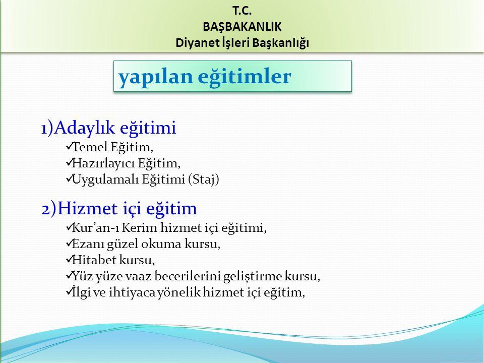 yapılan eğitimler 1)Adaylık eğitimi 2)Hizmet içi eğitim T.C.