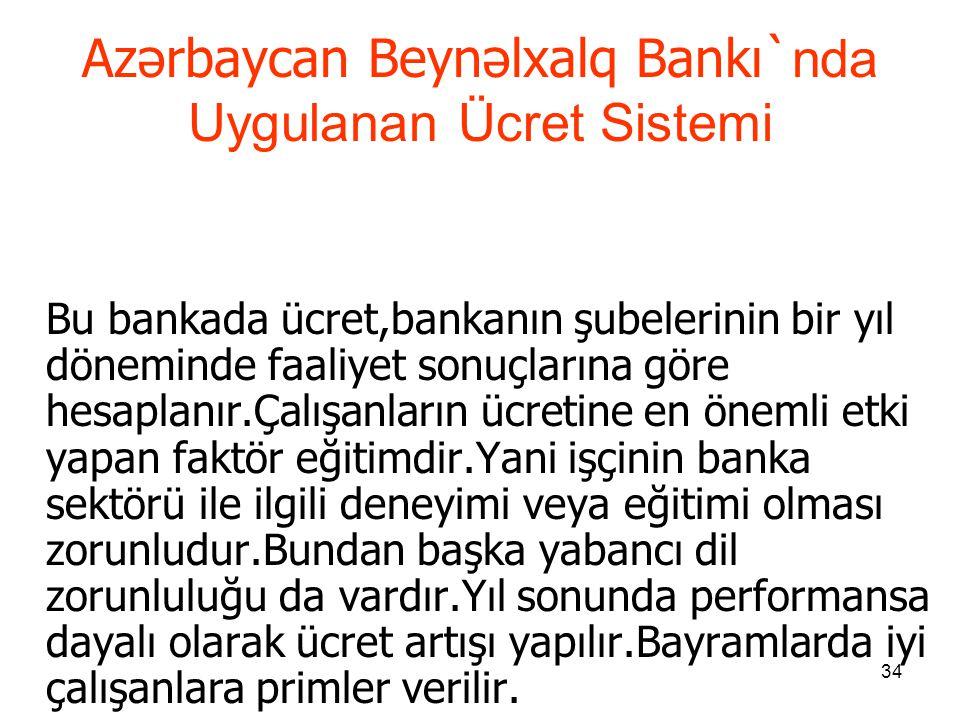 Azərbaycan Beynəlxalq Bankı`nda Uygulanan Ücret Sistemi