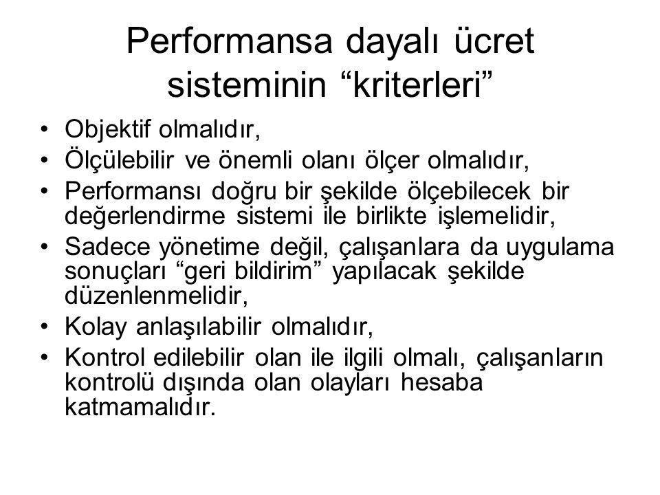 Performansa dayalı ücret sisteminin kriterleri