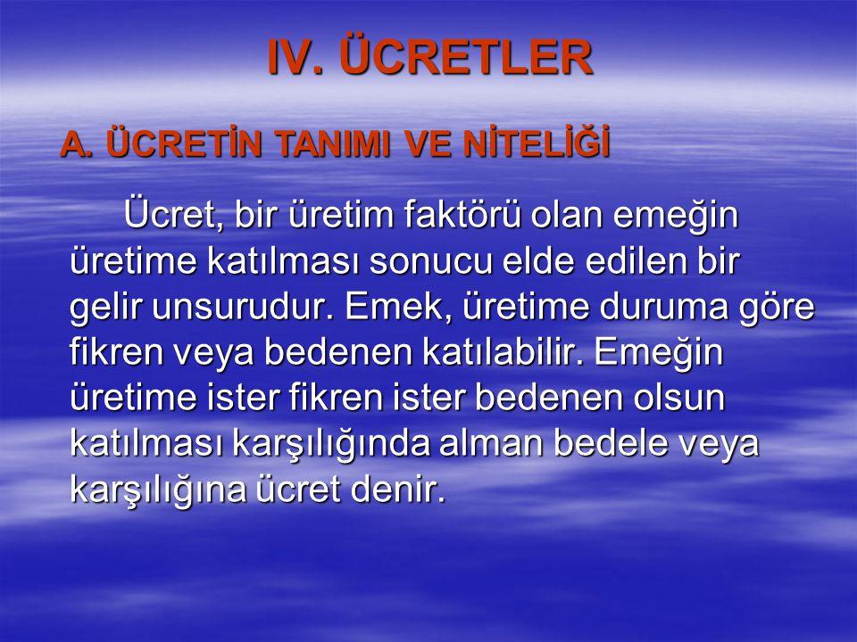 IV. ÜCRETLER A. ÜCRETİN TANIMI VE NİTELİĞİ.
