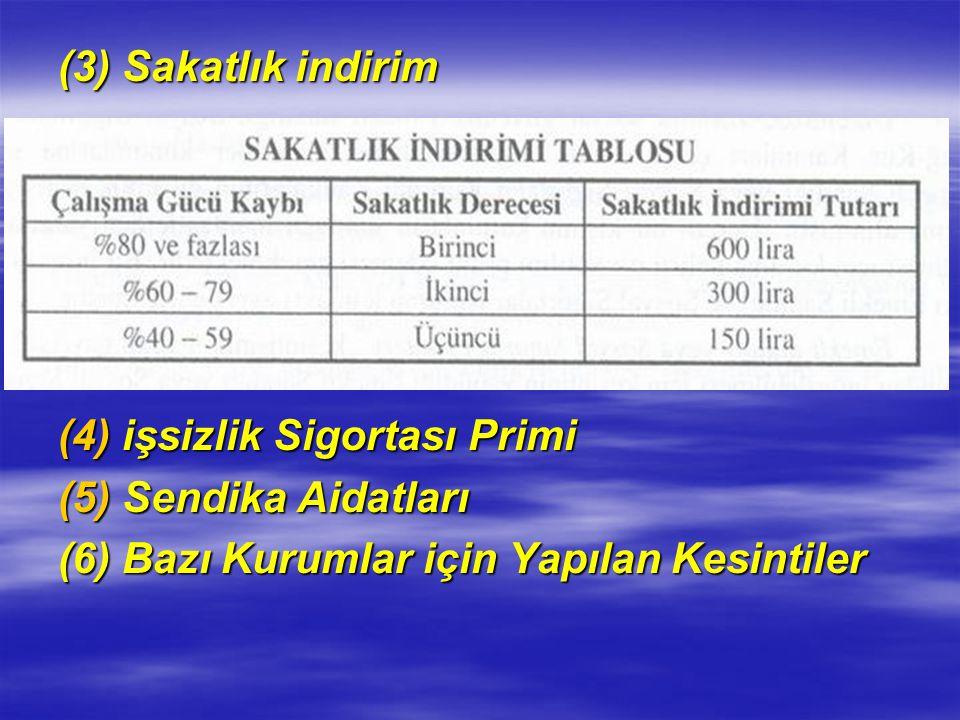 (3) Sakatlık indirim işsizlik Sigortası Primi. Sendika Aidatları.