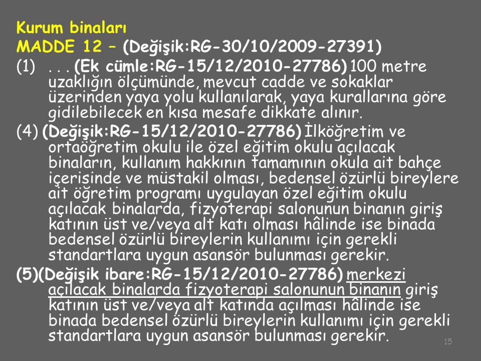 MADDE 12 – (Değişik:RG-30/10/2009-27391)