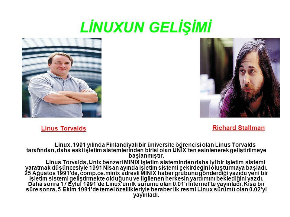 LİNUXUN GELİŞİMİ Linus Torvalds Richard Stallman