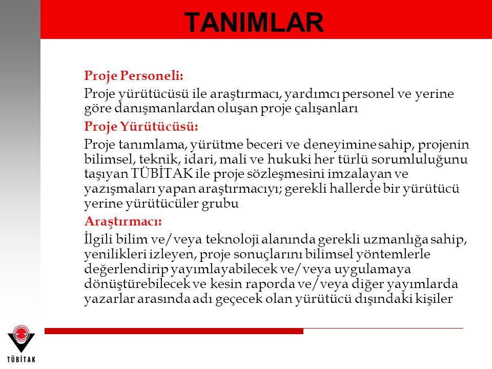 TANIMLAR Proje Personeli: