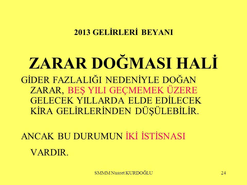 2013 GELİRLERİ BEYANI ZARAR DOĞMASI HALİ.