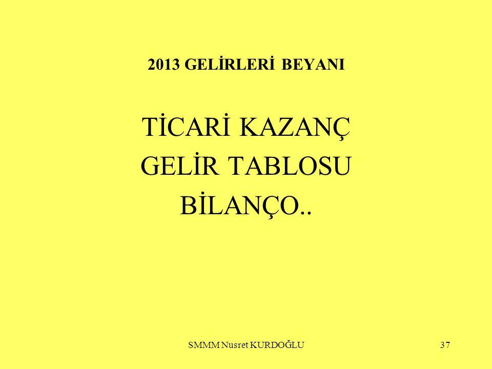 TİCARİ KAZANÇ GELİR TABLOSU BİLANÇO.. 2013 GELİRLERİ BEYANI