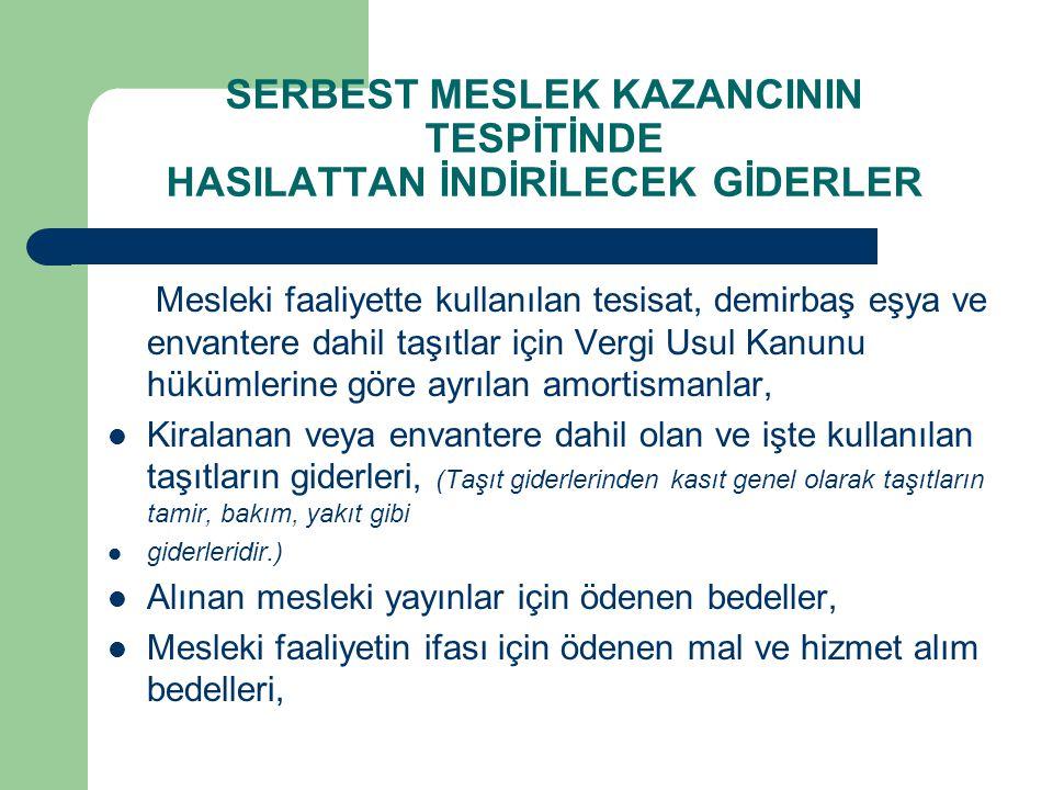 SERBEST MESLEK KAZANCININ TESPİTİNDE HASILATTAN İNDİRİLECEK GİDERLER