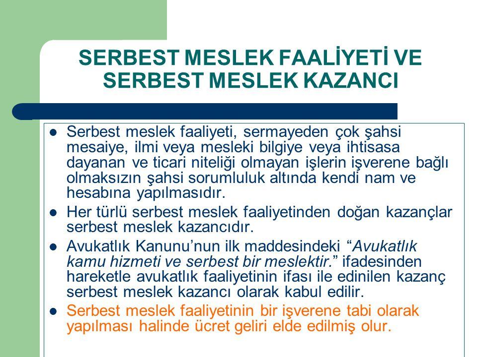 SERBEST MESLEK FAALİYETİ VE SERBEST MESLEK KAZANCI