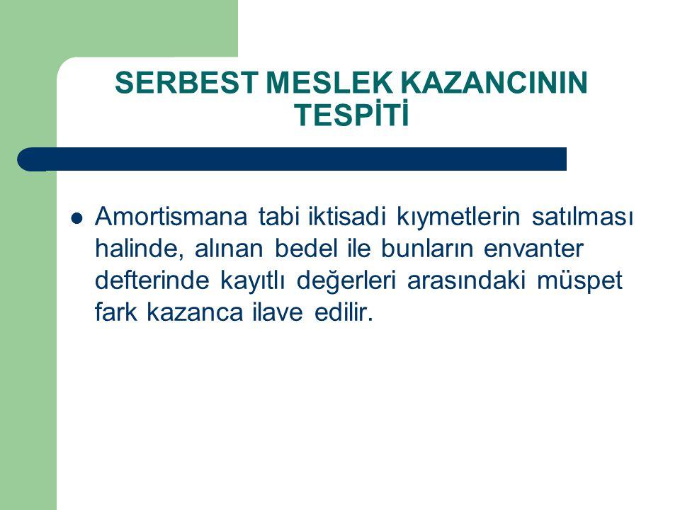 SERBEST MESLEK KAZANCININ TESPİTİ
