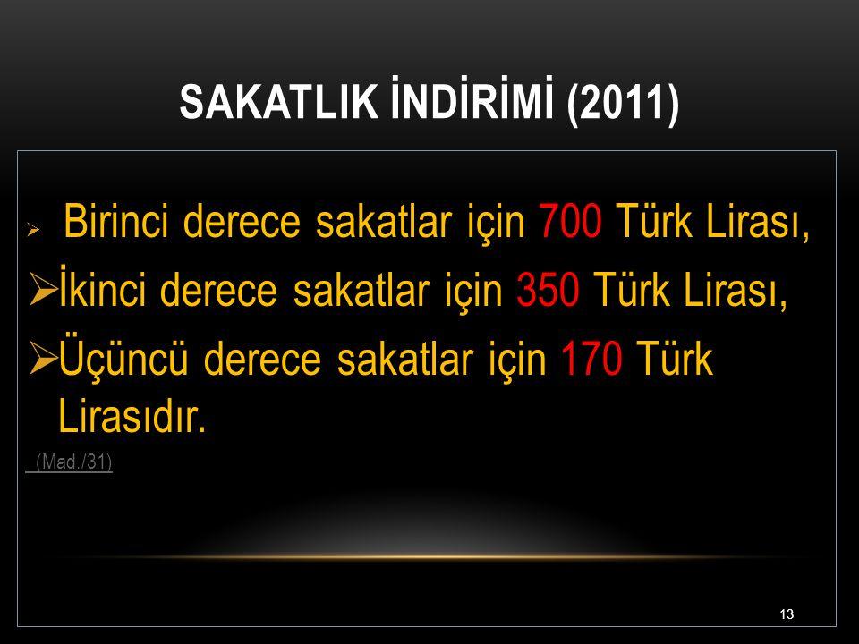 İkinci derece sakatlar için 350 Türk Lirası,