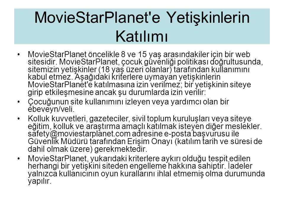 MovieStarPlanet e Yetişkinlerin Katılımı