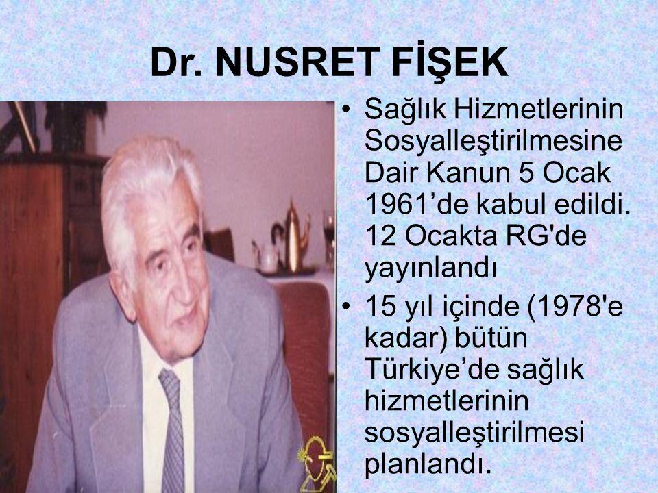 Dr. NUSRET FİŞEK Sağlık Hizmetlerinin Sosyalleştirilmesine Dair Kanun 5 Ocak 1961'de kabul edildi. 12 Ocakta RG de yayınlandı.