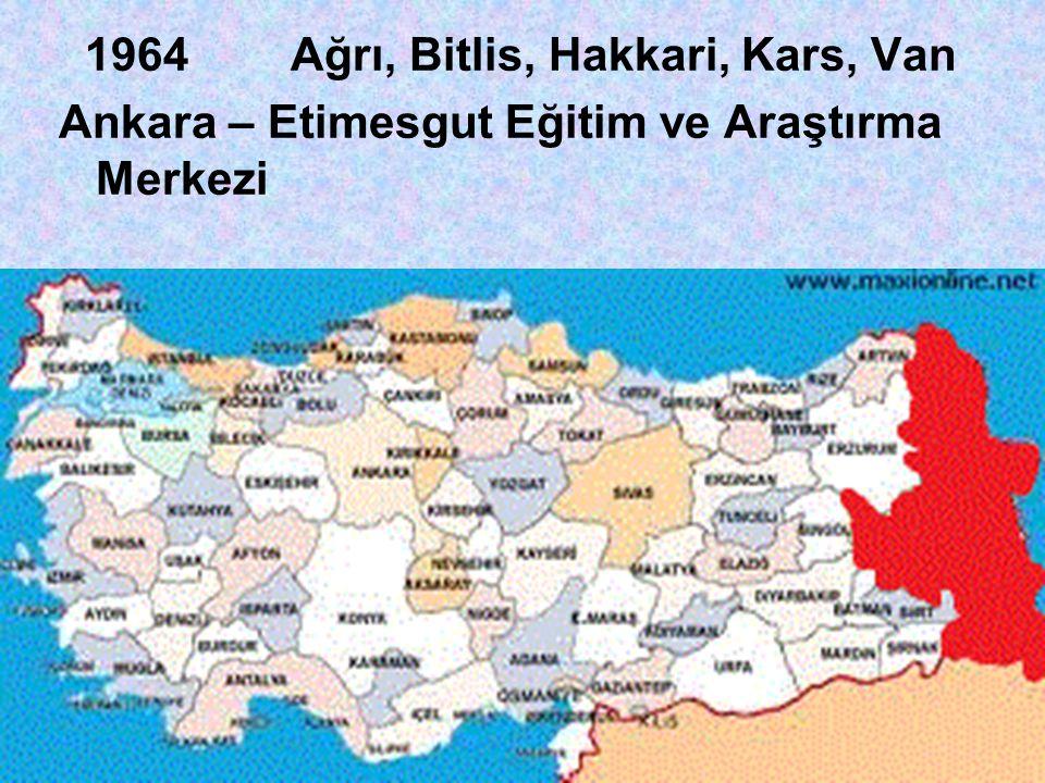 1964 Ağrı, Bitlis, Hakkari, Kars, Van
