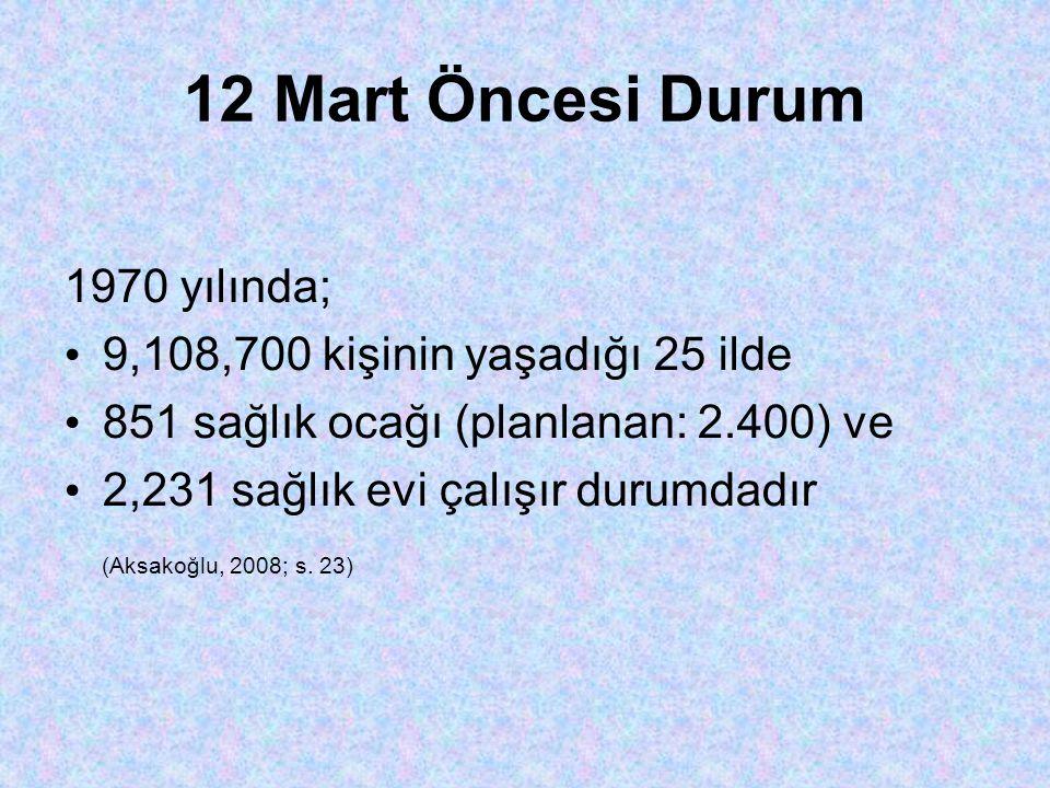 12 Mart Öncesi Durum 1970 yılında; 9,108,700 kişinin yaşadığı 25 ilde
