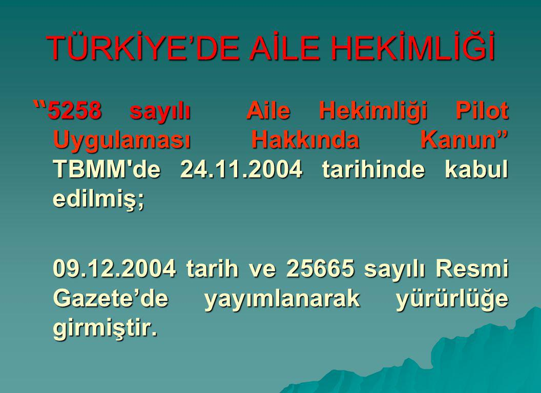 TÜRKİYE'DE AİLE HEKİMLİĞİ