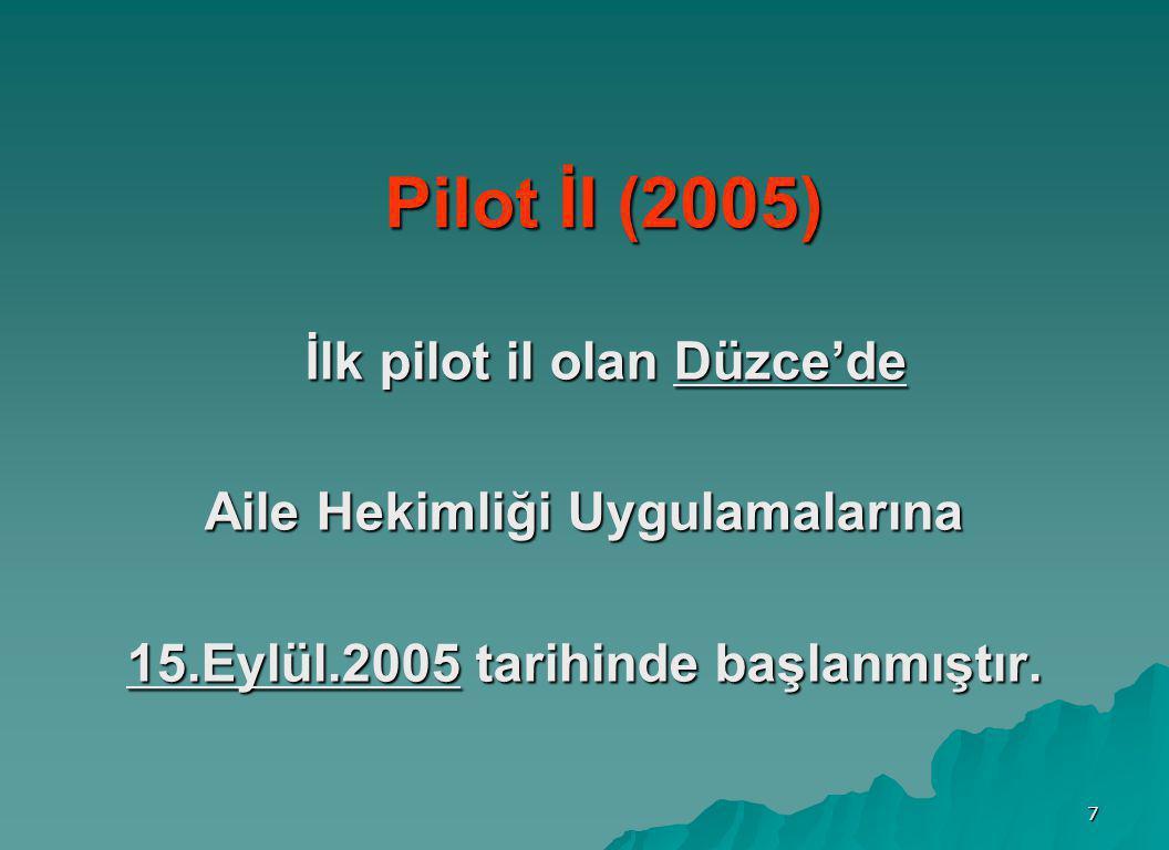 Aile Hekimliği Uygulamalarına 15.Eylül.2005 tarihinde başlanmıştır.