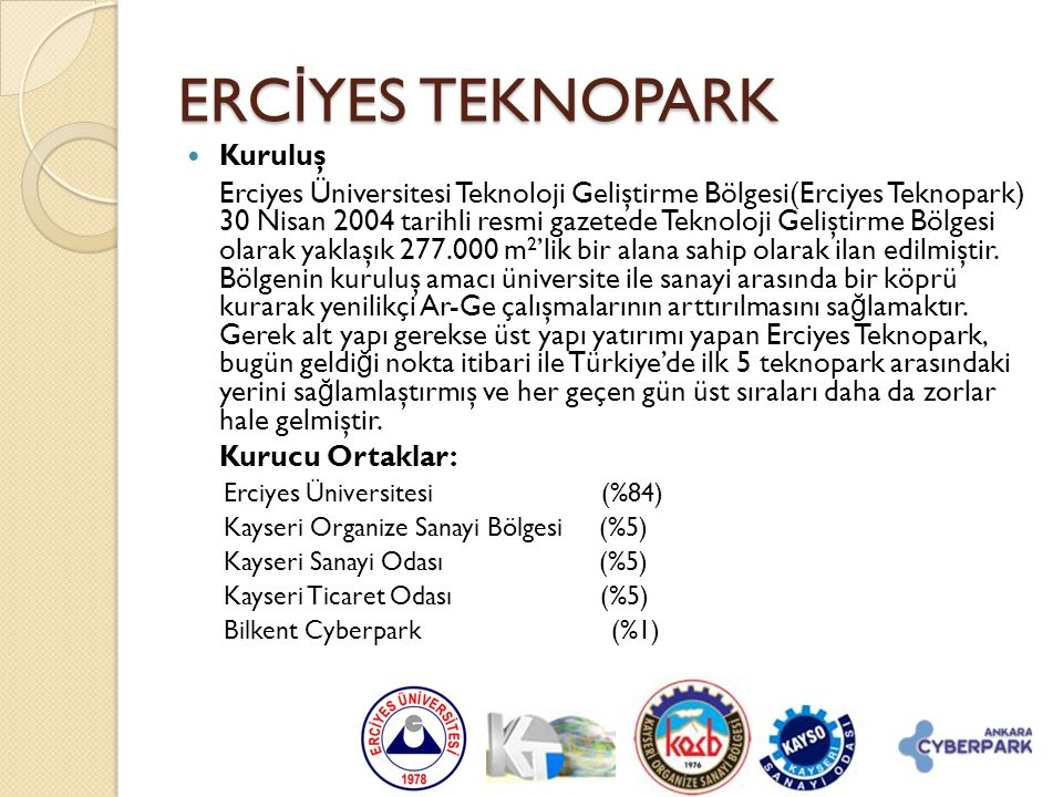 ERCİYES TEKNOPARK Kuruluş